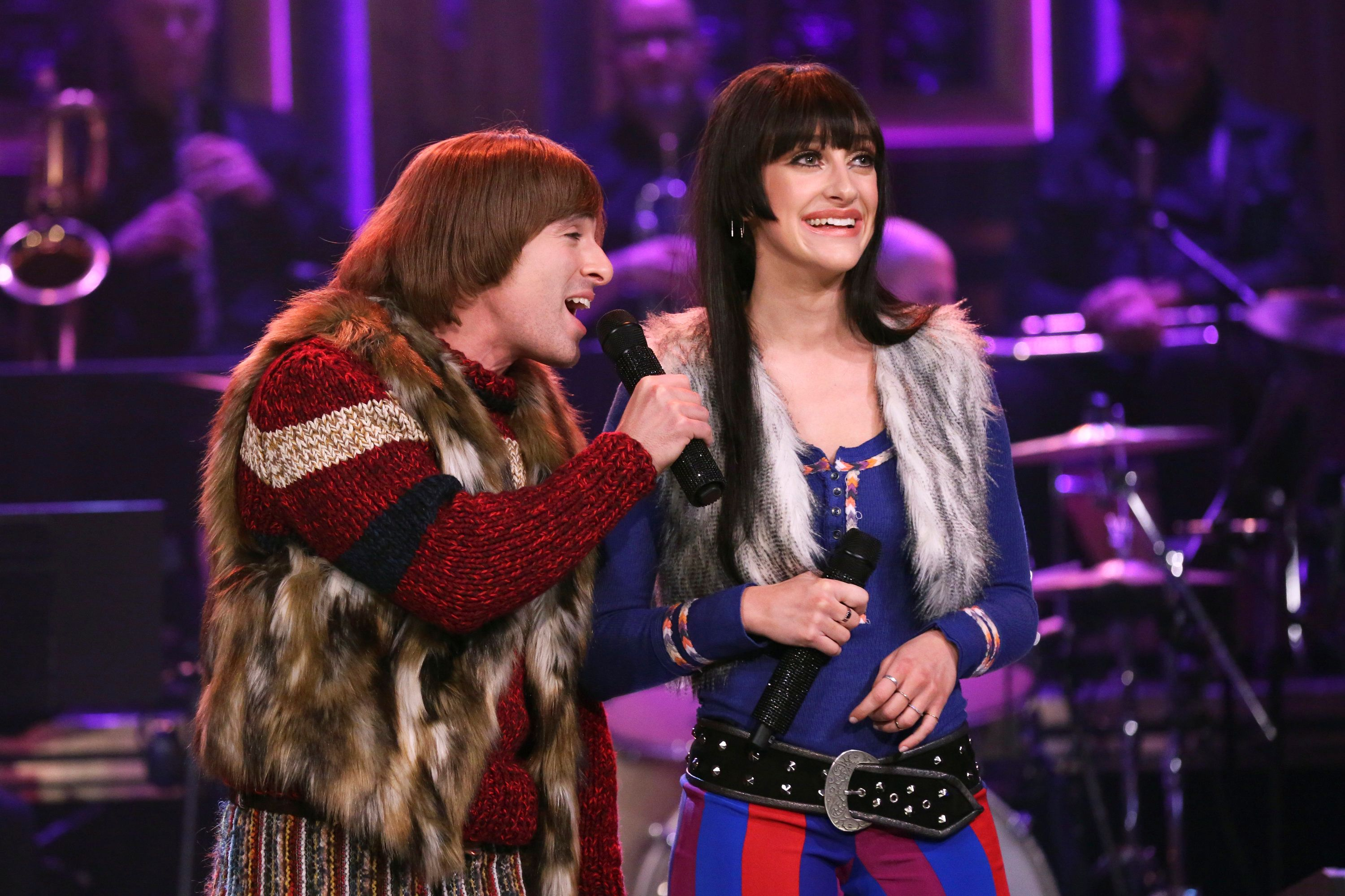 THE TONIGHT SHOW STARRING JIMMY FALLON -- Episode 1048 -- Pictured: (l-r) Musical guest 'The Cher Show' cast members Jarrod Spector and Micaela Diamond perform on April 15, 2019 -- (Photo by: Andrew Lipovsky/NBC/NBCU Photo Bank via Getty Images)
