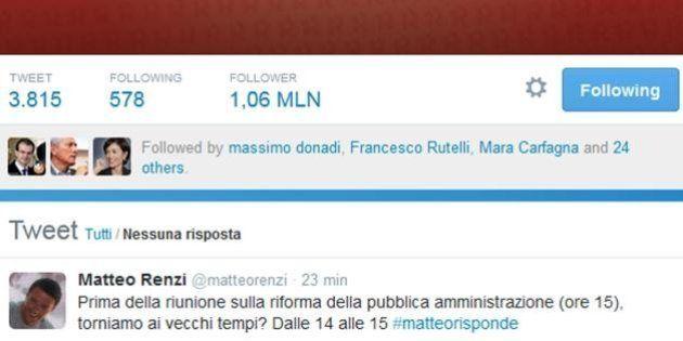 #matteorisponde, Matteo Renzi su Twitter: