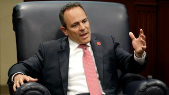 Kentucky Gov. Matt Bevin takes part in a discussion on state-level criminal justice reform Wednesday, April 17, 2019, in Nashville, Tenn. (AP Photo/Mark Humphrey)