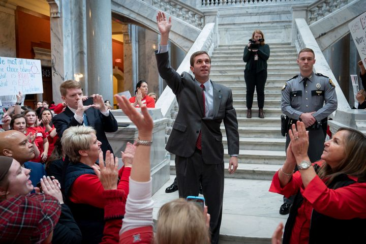 Kentucky Attorney General Andy Beshear addresses teachers protesting Bevin's proposed pension cuts in March.