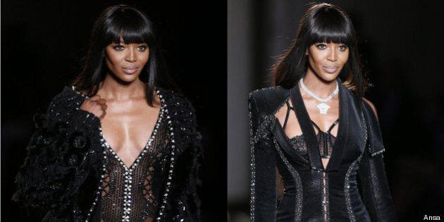 Alta moda Parigi. Versace apre con Naomi. Preziosi gancetti per svelare il corpo