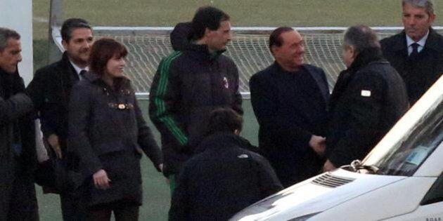 Silvio Berlusconi con la figlia Barbara in visita a Milanello