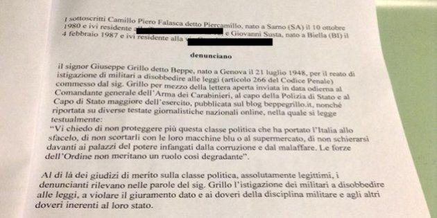 Beppe Grillo rischia di essere indagato per la lettera aperta alle forze armate. Sporte denunce in tutta