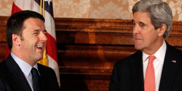 Matteo Renzi incontra Angela Merkel e John Kerry: la prima volta tra i grandi d'Europa e del mondo