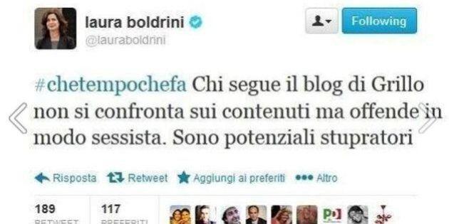 Beppe Grillo riprende il tweet di Laura Boldrini. Ma lo staff del presidente: