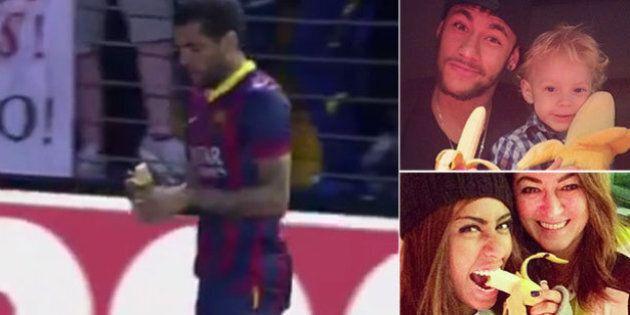 Dani Alves mangia la banana lanciata dai tifosi: