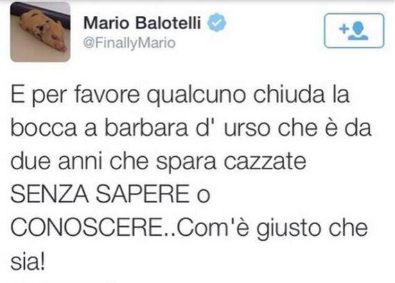 Mario Balotelli contro Barbara D'Urso su Twitter: