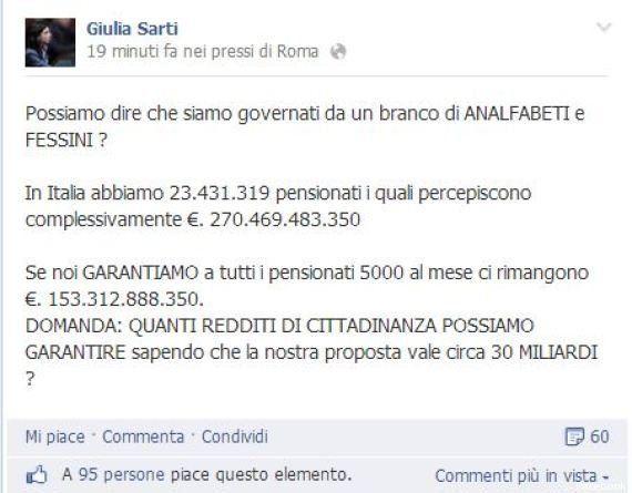 Giulia Sarti (M5s), gaffe su Facebook: 5000 euro per tutti i pensionati. Ma la riforma costa come tutto...