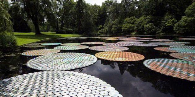 In Pennsylvania l'installazione di Bruce Munro con 65mila cd: i compact disc diventano ninfee (FOTO,