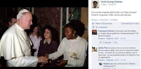 Cécile Kyenge smentisce il fotomontaggio della foto di papa Wojtila e pubblica l'immagine originale