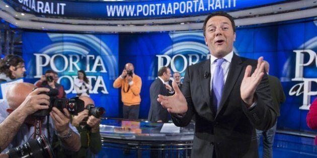 Matteo Renzi a Porta a Porta supera Berlusconi del 6%. E scherza sulla sua