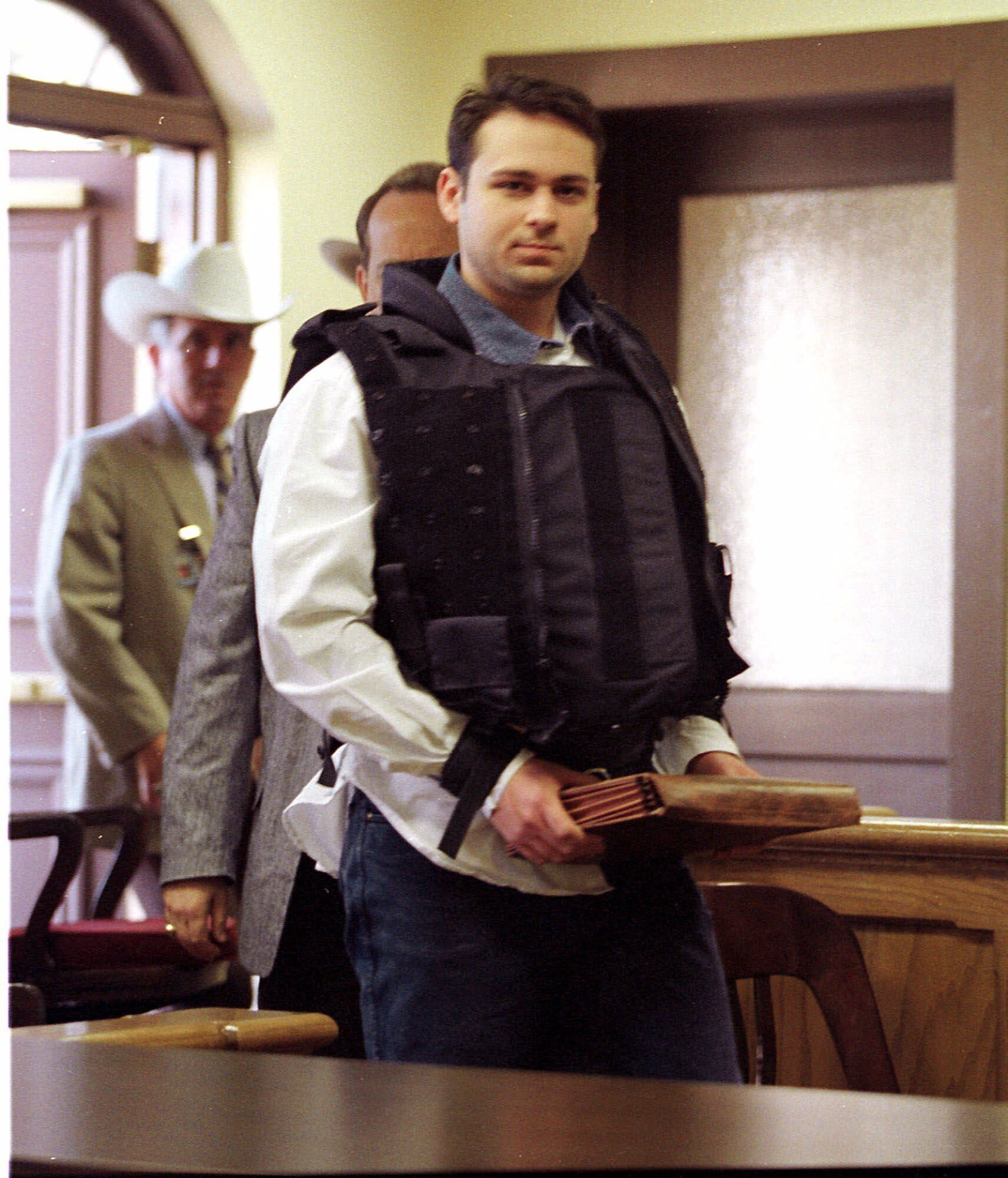 Convicted killer John William King is escorted into the Jasper County Courthouse for the punishment phase of his trial Wednesday, Feb. 24, 1999, in Jasper, Texas. King was convicted of capital murder in the dragging death of James Byrd Jr. (AP Photo/Adrees Latif)
