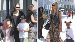 Son tutte belle le mamme del mondo, alcune di più. Angelina e Heidi al parco con i figli