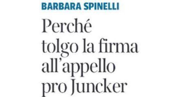 Barbara Spinelli firma appello sbagliato a sostegno di Jean-Claude Juncker presidente della Commissione...