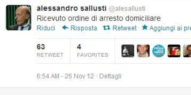 Alessandro Sallusti: su twitter l'annuncio degli arresti domiciliari
