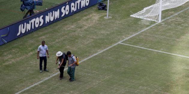 Italia - Inghilterra mondiali 2014: l'Arena Amazonia non è pronta. Il campo dello stadio di Manaus dipinto...