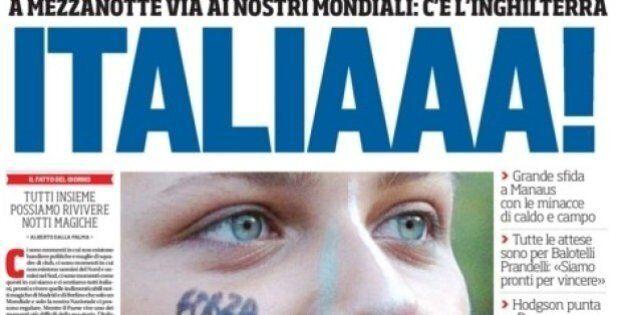 Italia Inghilterra, mondiali 2014: le prime pagine dei giornali presentano la sfida