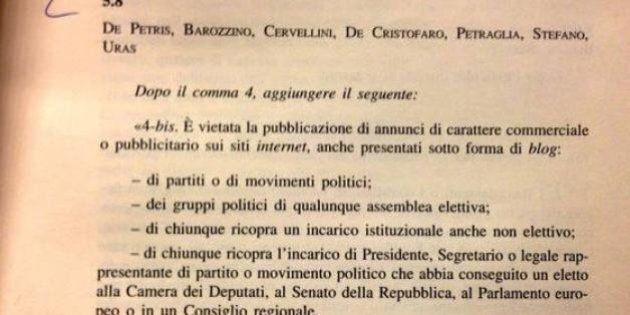 Emendamento Sel contro la pubblicità sui siti di partito. Rivolta M5s in
