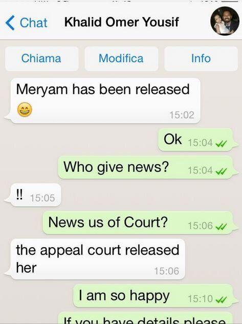 Meriam è libera, annullata la condanna a morte per