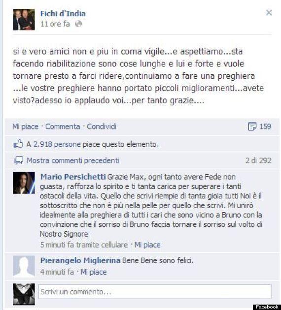 Bruno Arena è uscito dal coma: l'annuncio sulla pagina ufficiale di Facebook dei Fichi d'India