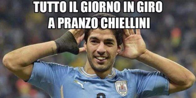 Morso di Luis Suarez a Giorgio Chiellini, su twitter l'ironia sull'attaccante dell'Uruguay. E su Mario...