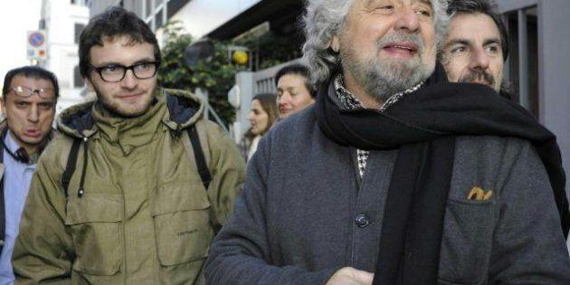 Beppe Grillo a Roma per incontrare i neo eletti in Parlamento. Insieme a Casaleggio incontro all'hotel...