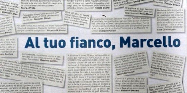 Marcello Dell'Utri in carcere, la pagina a pagamento sul Corriere: