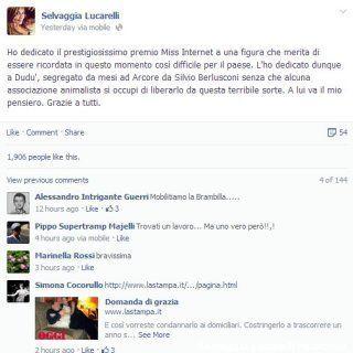 TeleRatto 2013. Michelle Bonev ringrazia Francesca Pascale, Silvio Berlusconi... e Dudù (FOTO,