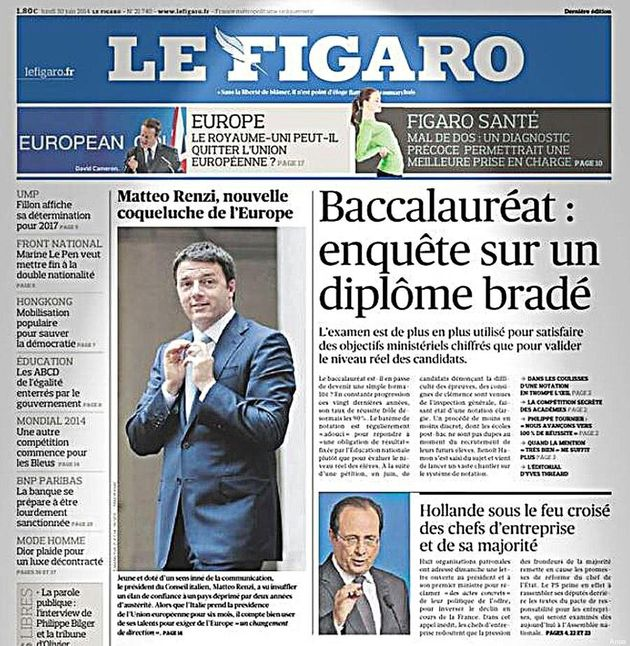 Matteo Renzi, le Figaro lo celebra: