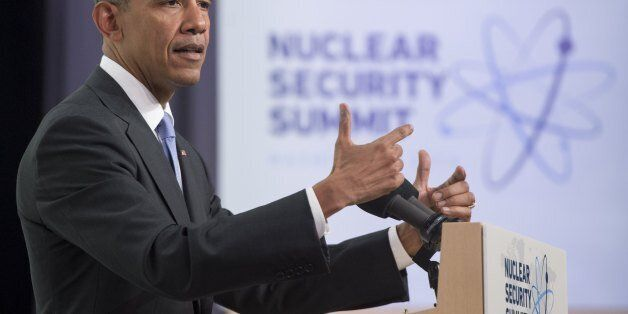 US President Barack Obama addresses a press conference during the Nuclear Security Summit at the Walter E. Washington Convent