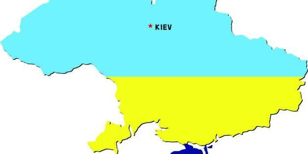 Map of Ukraine with a Russian flag over the contested area of Crimea.