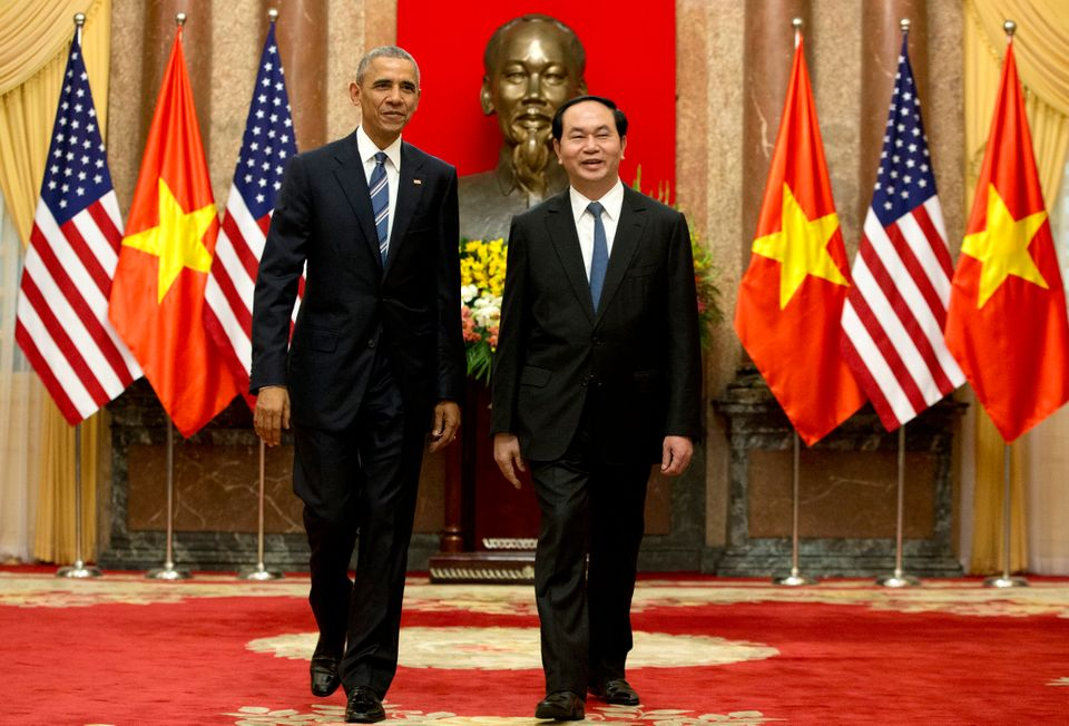 FILE - In this Monday, May 23, 2016 file photo, U.S. President Barack Obama, left, and Vietnamese President Tran Dai Quang wa