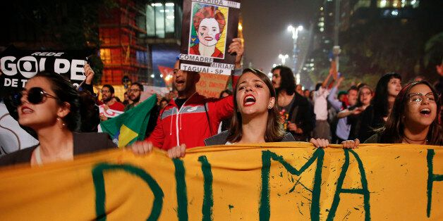 People demonstrate against Brazil's acting President Michel Temer and in support of suspended President Dilma Rousseff in Sao