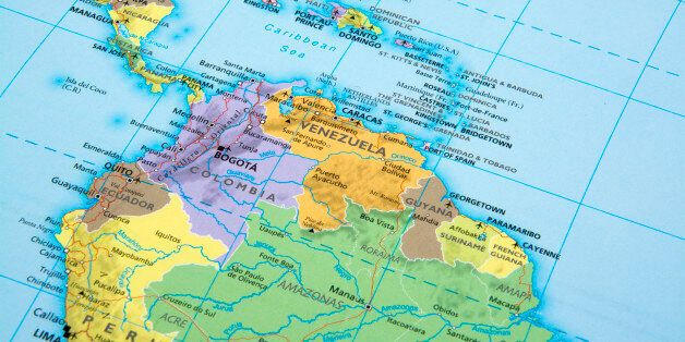 Map of Venezuela,Colombia,Ecuador and Peru.