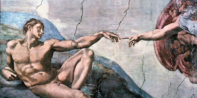 God Creates Adam, Sistine Chapel, The Vatican, Michelangelo, Fresco, 1508-11. (Photo by: Universal History Archive/UIG via Ge
