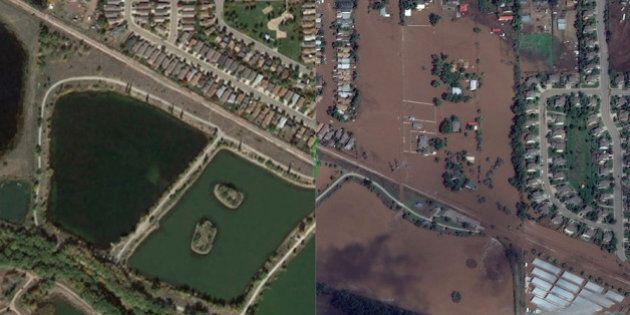 Il Colorado prima e dopo l'alluvione: immagini drammatiche