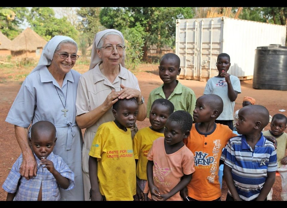 Sister Giovanna on the right with some of her charges at her orphanage in South Sudan. MIA FARROW