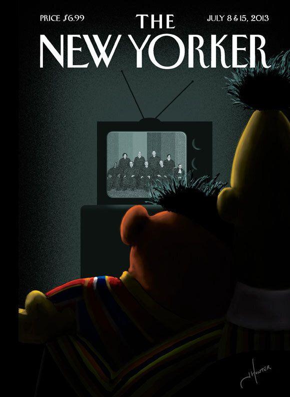 La Cover del New Yorker sul matrimonio gay: Bert e Ernie dei Muppets si stringono davanti alla Tv
