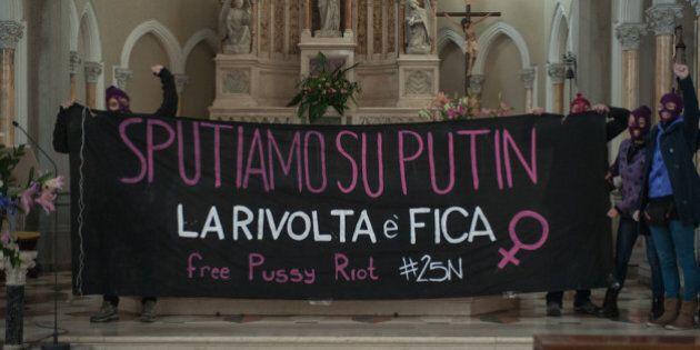 25 novembre, contro la visita di Vladimir Putin, blitz femminista in chiesa a Roma: