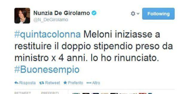 Nunzia De Girolamo e Giorgia Meloni, su twitter lite sugli stipendi da ministre. E Maurizio Gasparri...
