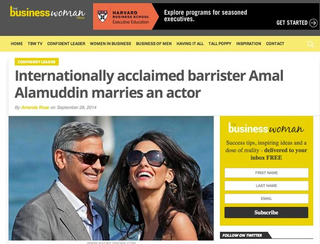 Amal Alamuddin e George Clooney, giornalista di Business Woman non sa chi è l'
