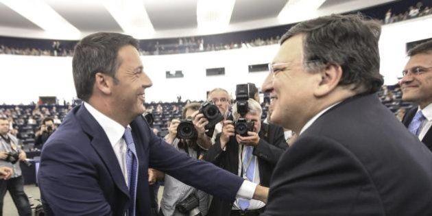 Matteo Renzi incontra Manuel Barroso a Villa Madama a Roma