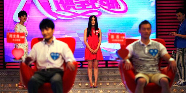 "25-year-old Liu Tingting introduces herself during the recording of an episode of ""Meet you on Saturday"", a matchmaking telev"