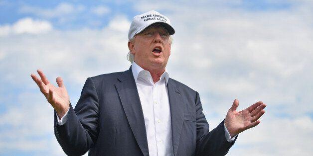 ABERDEEN, SCOTLAND - JUNE 25:  Presumptive Republican nominee for US president Donald Trump visits Trump International Golf L
