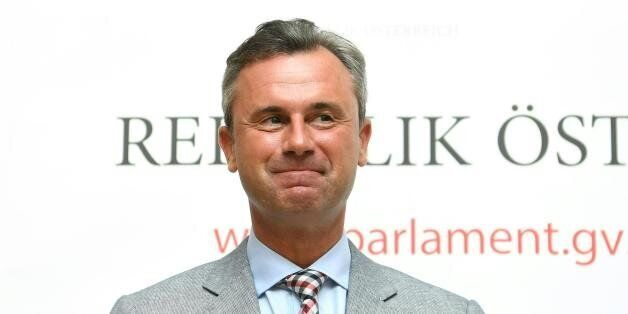 The third President of the National Council and far right FPOe presidential candidate Norbert Hofer attends a press conferenc