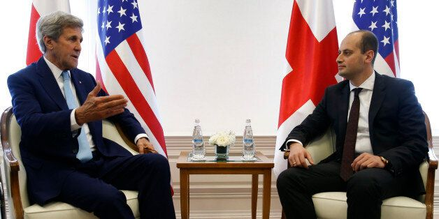 U.S. Secretary of State John Kerry, left, meets with Georgian Foreign Minister Mikheil Janelidze in Tbilisi, Georgia, Wednesd