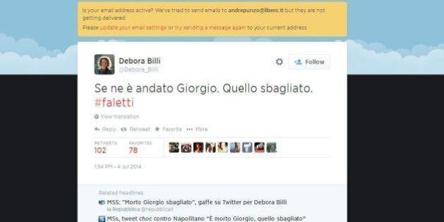 M5s, Debora Billi tweet choc contro Napolitano:
