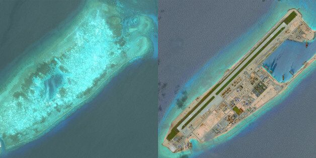 FIERY CROSS REEF, SOUTH CHINA SEA - MAY 31, 2014 to JUNE 3, 2016:  DigitalGlobe overview imagery comparing Fiery Cross Reef f