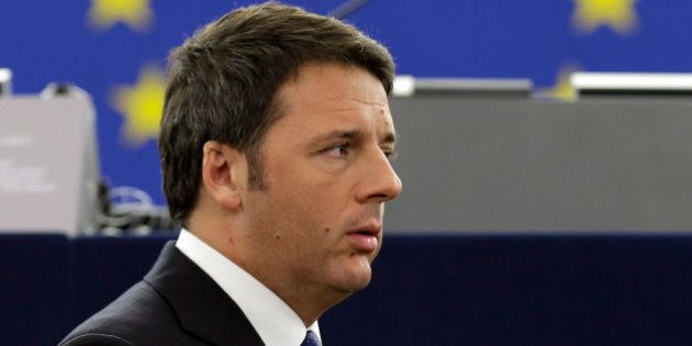 Italian Premier Matteo Renzi as they waits for Pope Francis to deliver his speech, at the European Council,...