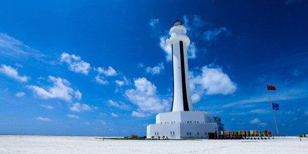 NANSHA, CHINA - APRIL 05: Image shows the lighthouse on Zhubi Reef of Nansha Islands on April 5, 2016 in China. According to